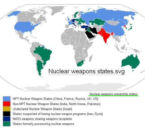 paises com armas nucleares